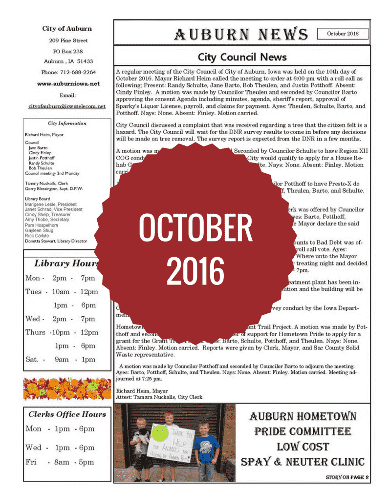October 2016 Newsletter
